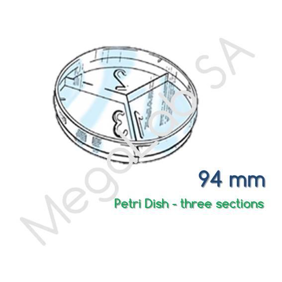Τρυβλία στρογγυλά (Petri Dish), τριχοτομημένα , διαμέτρου 94mm.