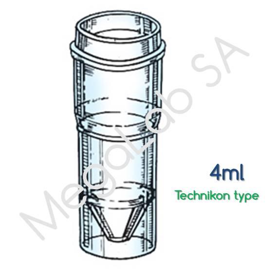 Κιουβέτες αναλυτή Technikon 4ML, Polystyrene cup for autoanalyzer Technicon type.