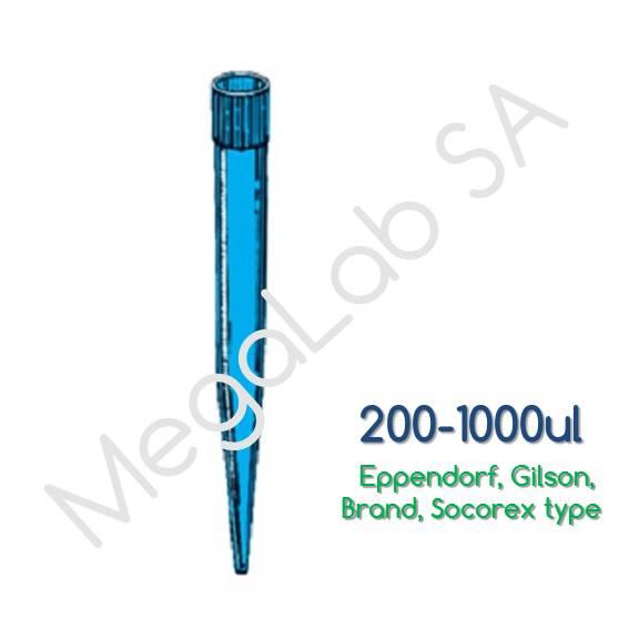 Ρύγχη αυτόματων πιπετών 200-1000μl, μπλέ (Tips Eppendorf, Gilson, Brand, Socorex type)