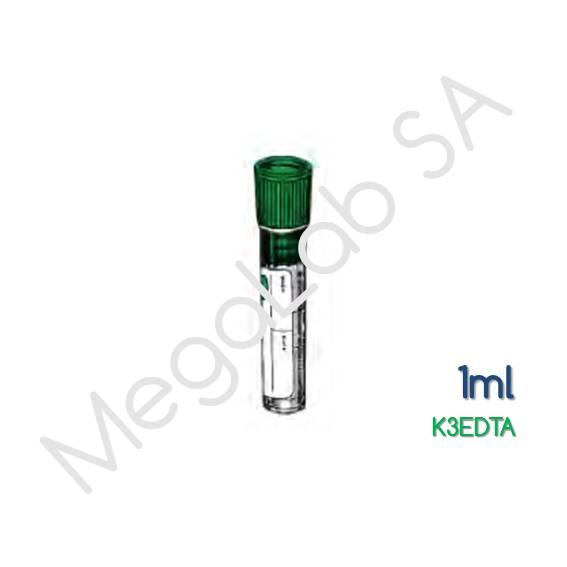 Σωληνάρια απλά πλαστικά (ΡΡ) διαφανή Κ3EDTA, όγκου 1ml.