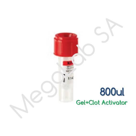 Παιδιατρικά Σωληνάρια  Micro Test Tube, με βιδωτό πώμα, με γέλη και επιταχυντή πήξης (Gel and Clot Activator), όγκος 800μl.