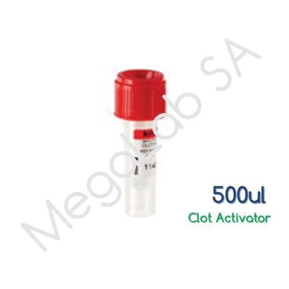 Παιδιατρικά Σωληνάρια  Micro Test Tube, με βιδωτό πώμα, με επιταχυντή πήξης (Clot Activator), όγκος 500μl.