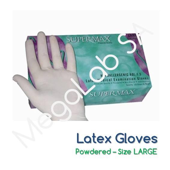 Γάντια latex, με πούδρα, large