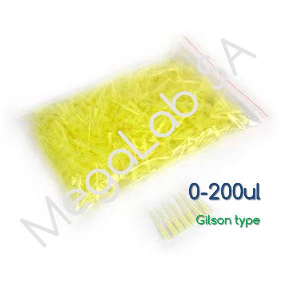 Ρύγχη αυτόματων πιπετών 0-200μl, κίτρινα (Tips Eppendorf, Brand, Socorex Type)