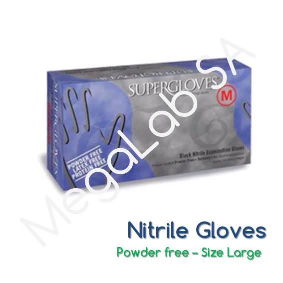 Γάντια νιτριλίου Μαύρα (nitrile), χωρίς πούδρα, Large