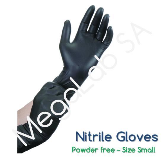 Γάντια νιτριλίου Μαύρα (nitrile), χωρίς πούδρα, small